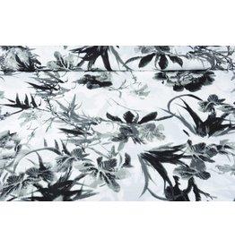 Leinenoptik Viskose Bedruckt Graue Tropische Blumen