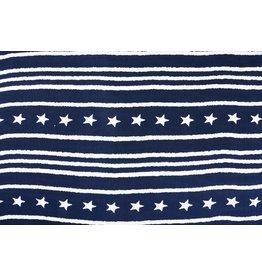 Leinenoptik Viskose Bedruckt Stern Gestreift Marineblau
