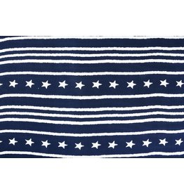 Linenlook Viscose printed Star Striped Marine