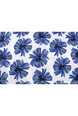 Leinenoptik Viskose Bedruckt Tropische Blätter Kobaltblau