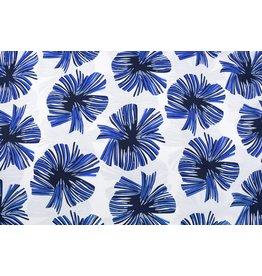 Linenlook Viscose Printed Tropical Leaves Cobalt Blue