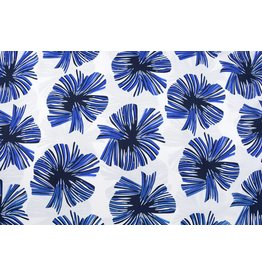 Linenlook Viscose Printed Tropical leaves Kobalt blue