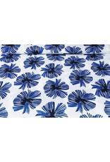 Linnenlook Viscose Bedrukt Tropische bladeren Kobalt blauw