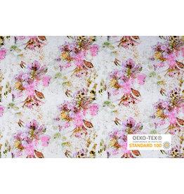 Oeko-Tex®  Cotton Jersey Leopard Flower Creme