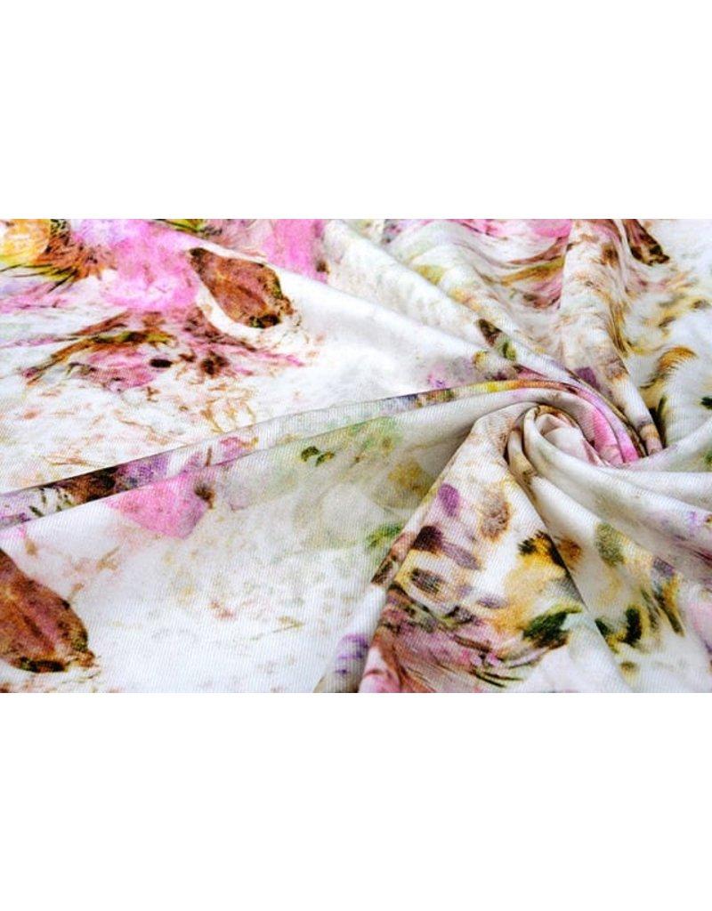 Oeko-Tex®  Cotton Jersey Panterbloem Creme