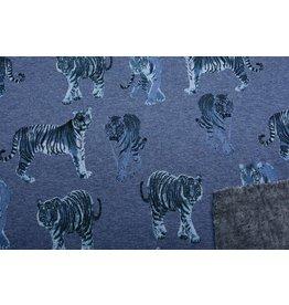 Sweatstoff Bedruckt Doubleface Tiger Blau