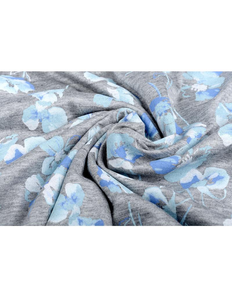 Cotton Jersey viooltjes Grijs Melange