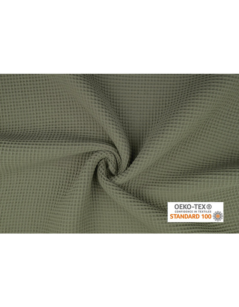 Waffle Pique Fabric Light Army green