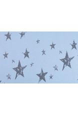 Sweatstoff Alpenfleece Kleiner Stern Großer Stern Blau-Grau