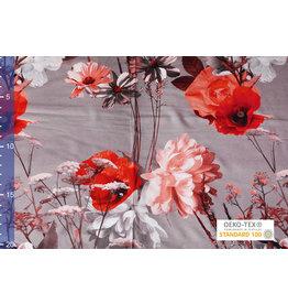 Viscose Jersey Digitaal Vintage Watercolor Bloem Licht Grijs