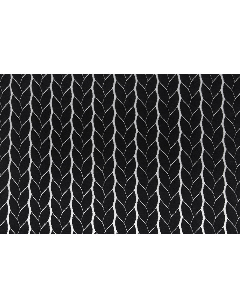 Gestrickte Kabel Stoff Jersey Schwarz