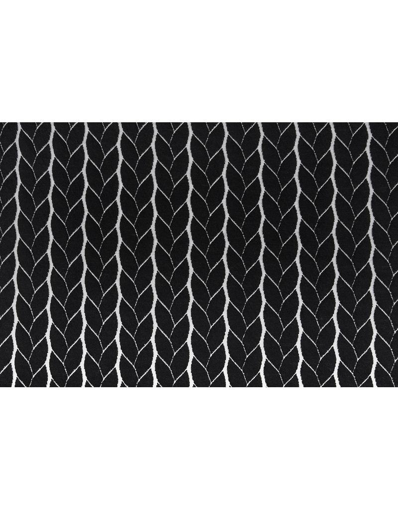 Multicolor Strickstoff Zopfmuster Jersey Schwarz
