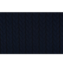 Multi Color Knitted Cable fabric tricot Navy