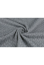 Multi Color Knitted Cable fabric tricot Light Grey