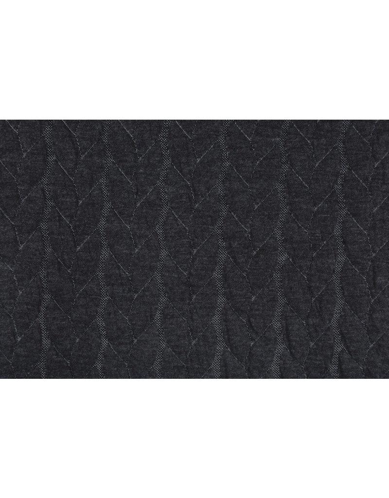 Multicolor Strickstoff Zopfmuster Jersey Dunkelgrau