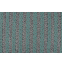 Knitted Cable Fabric Tricot Mint Grey