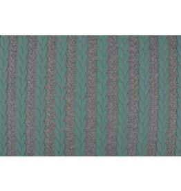 Multicolor Strickstoff Zopfmuster Jersey Minzgrün Grau