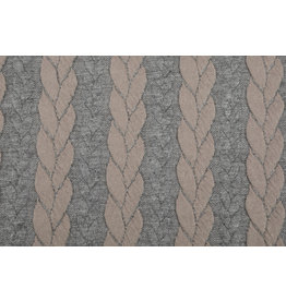 Knitted Cable Fabric Tricot Grey Powder Pink