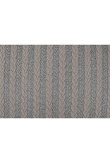 Gestrickte Kabel Stoff Jersey Grau Puderrosa