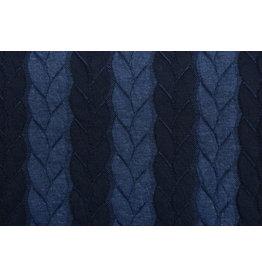 Gestrickte Kabel Stoff Jersey Marineblau Jeans