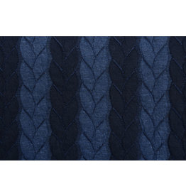 Knitted Cable Fabric Tricot Navy Jeans