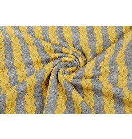 Multicolor Strickstoff Zopfmuster Jersey Grau Ocker