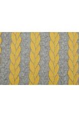 Gestrickte Kabel Stoff Jersey Grau Ocker