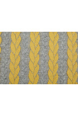 Multi Color Knitted Cable fabric tricot Grey Ochre