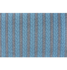 Knitted Cable Fabric Tricot Grey Light Aqua