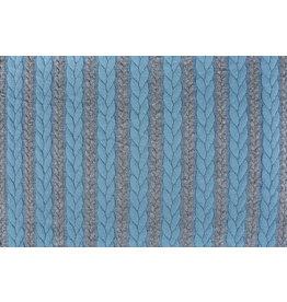 Multicolor Strickstoff Zopfmuster Jersey Grau Hellaqua