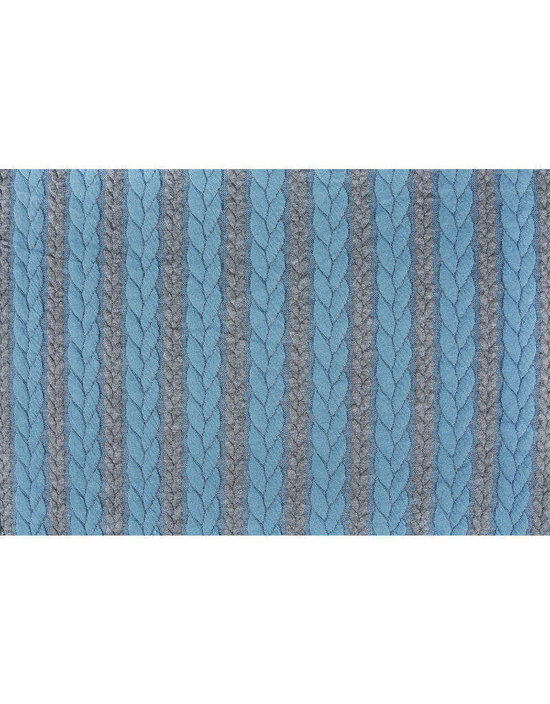 Multi Color Knitted Cable fabric tricot Grey Light Aqua