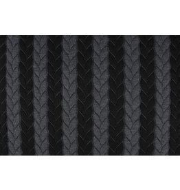 Gestrickte Kabel Stoff Jersey Grau Schwarz