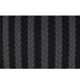 Multicolor Strickstoff Zopfmuster Jersey Grau Schwarz