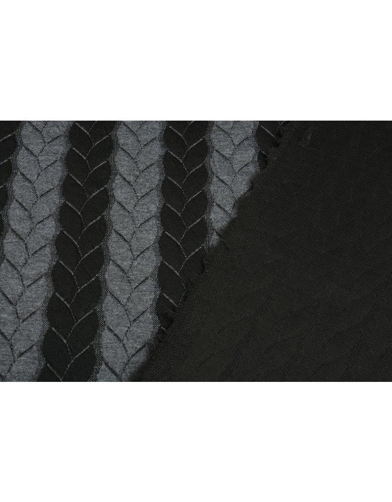 Gebreide Kabel Stof Tricot Grijs Zwart