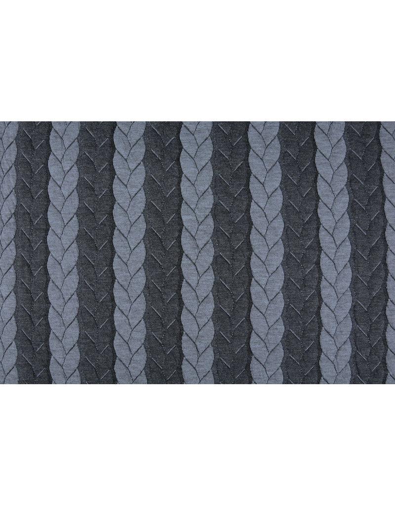 Multicolor Strickstoff Zopfmuster Jersey Grau Dunkelgrau