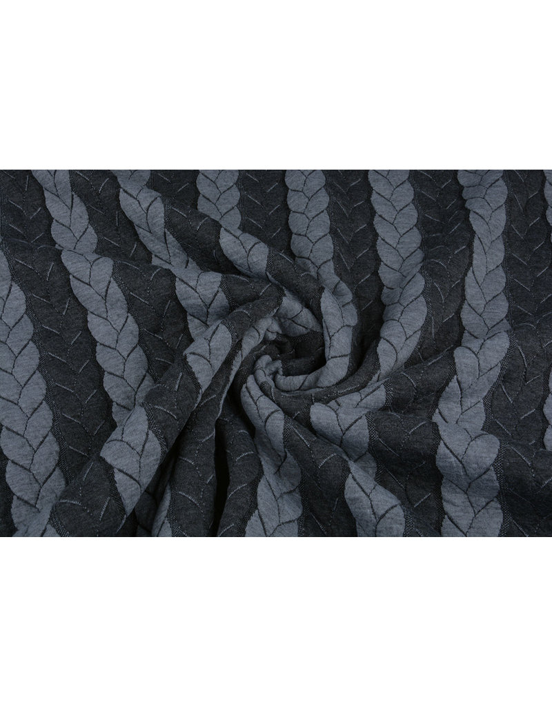 Multi Color Knitted Cable fabric tricot Grey Dark Grey