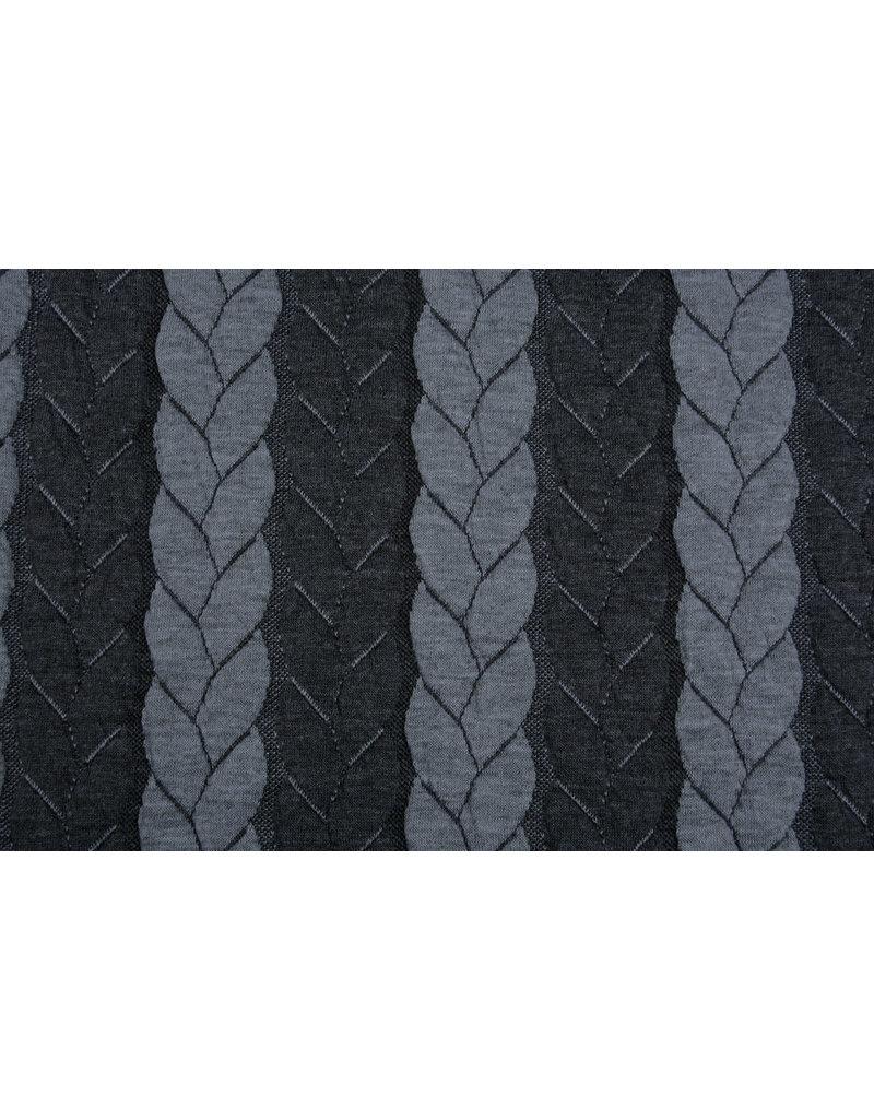 Multi Color Gebreide kabel stof tricot Grijs Donker Grijs