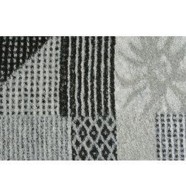 Gestrickter Wollstoff Quiltoptik Schwarz-Grau