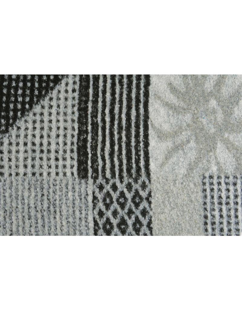 Gebreide Wollen stof Quiltlook Zwart Grijs