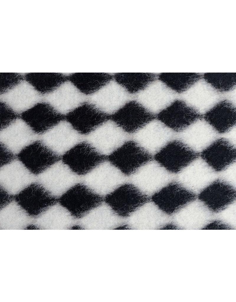 Gestrickter Wollstoff Karo Schwarz-Weiß
