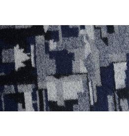 Gestrickter Wollstoff Quiltoptik Schwarz Marineblau