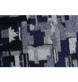 Knitted Woolen fabric Quilt look Black Navy