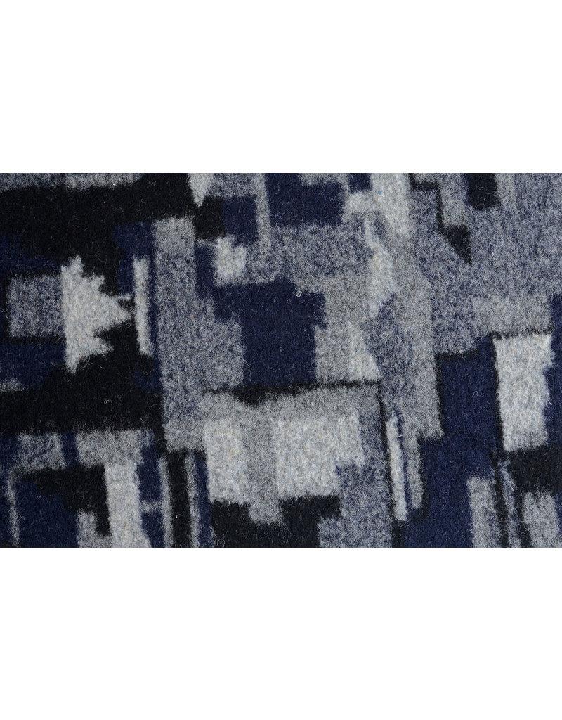 Gebreide Wollen stof Quiltlook Zwart Marine