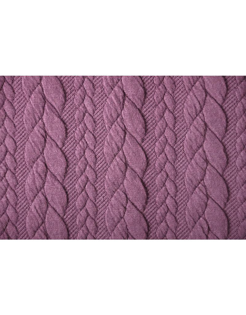 Gebreide kabel stof tricot Donker oude roze