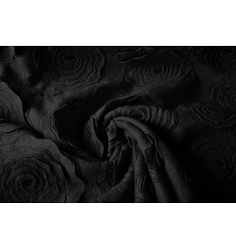 Enkel geborduurd Wollen stof Zwart