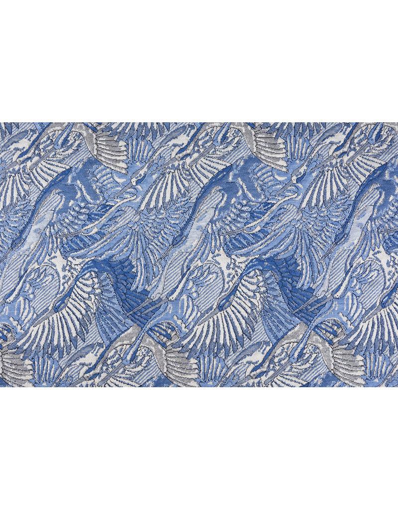 Jacquard Gestrickt Lurex Vogel Blau