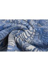 Jacquard Gebreid Lurex Vogel Blauw