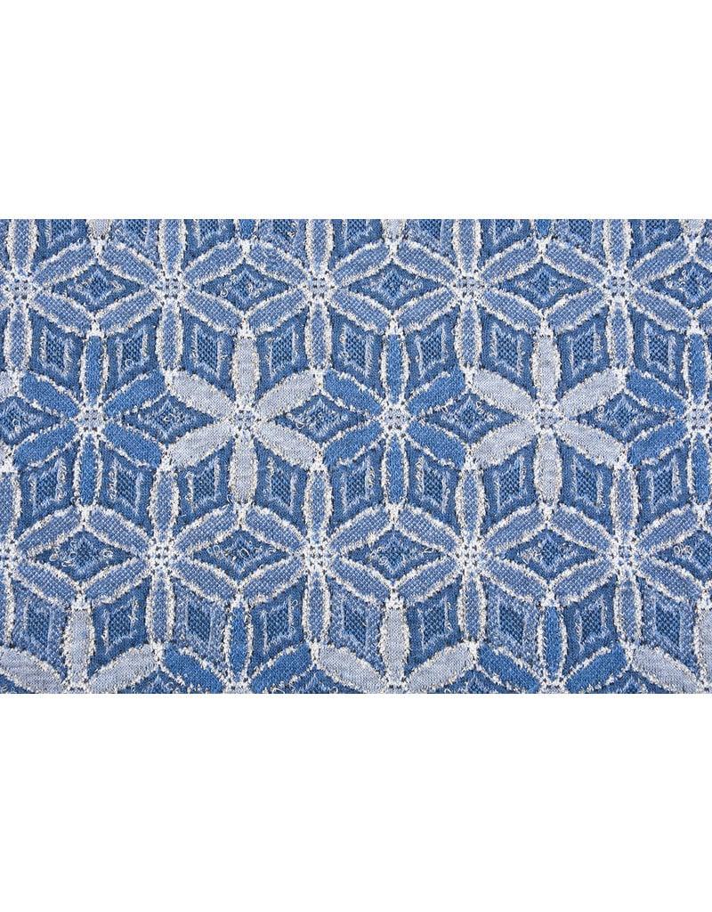Jacquard Gestrickt Lurex Blumen Blau