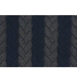 Gestrickte Kabel Stoff Jersey Marineblau Grau
