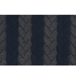 Knitted Cable Fabric Tricot Navy Grey